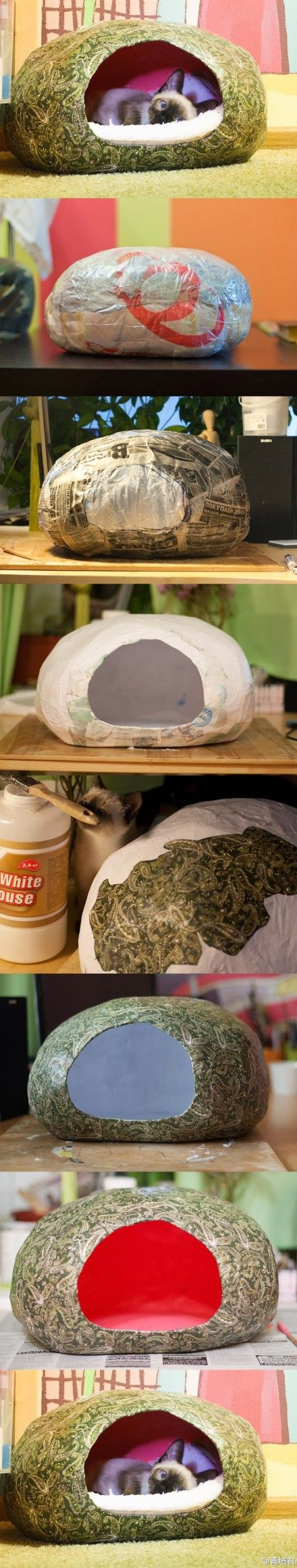 Homemade pet nest made with paper mache.