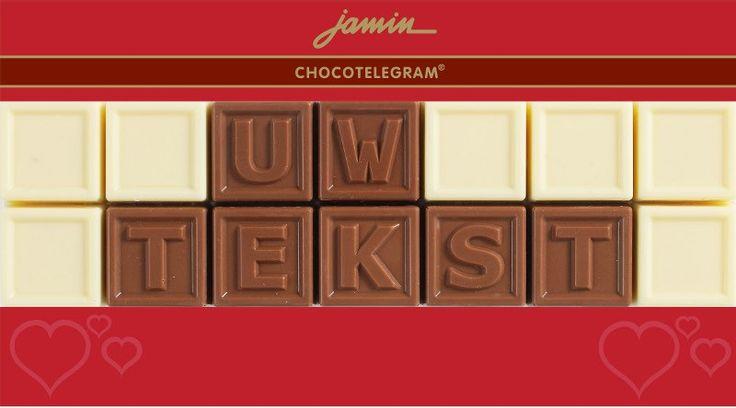 Jamin chocotelegram love 2 regels: jouw tekst  Description: Stuur uw persoonlijke boodschap in heerlijke chocolade. Vul uw tekst in het desbetreffende vak in en klik op 'in shoppingbag' om uw chocotelegram te bestellen. Voor levering volgende werkdag voor 17.00 uur bestellen.  Price: 10.00  Meer informatie  #Jamin