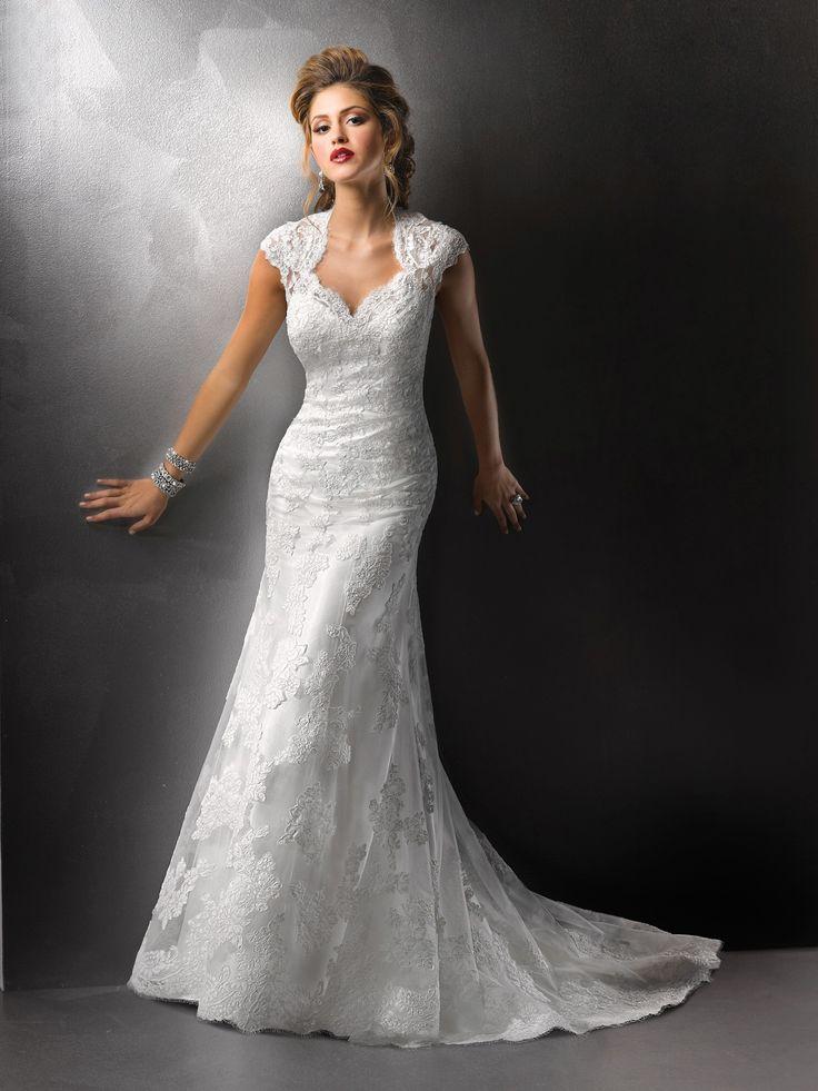 Delicate Trumpet Mermaid Sash Lace Tulle Wedding Dress. empire_waist_wedding_dress