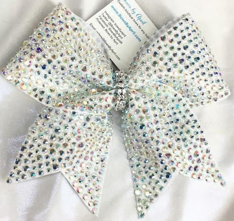 Bows by April - The Pinnacle Scattered AB Crystals Full Bling Glitter Cheer Bow, $50.00 (http://www.bowsbyapril.com/the-pinnacle-scattered-ab-crystals-full-bling-glitter-cheer-bow/)