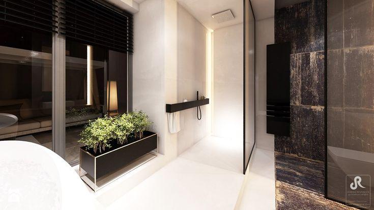 DRAFT WOOD - Duża łazienka w domu jednorodzinnym jako salon kąpielowy jako domowe spa z oknem, styl industrialny - zdjęcie od Otwarte Studio Sztuka