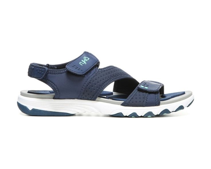 The Dominica from Ryka is the ultimate sandal for on-your-feet comfort.Mesh upper in a sport sandal style with an open toeSoft neoprene straps with three points of adjustable hook-and-loop closureLightweight EVA footbed with RE-ZORB® LITE insert inspired by reflexology delivers targeted heel, toe and arch cushioningSoft compression-molded EVA midsoleStructured outsole with durable TPR for stability