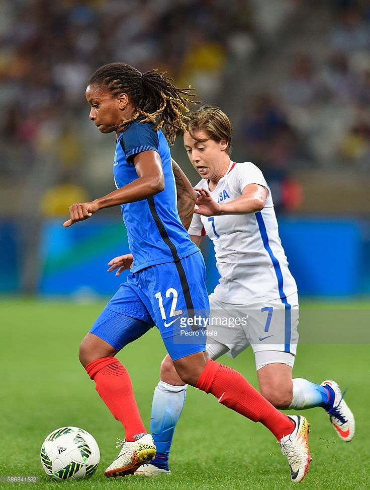 Elodie Thomis of France and Meghan Klingenberg of United States battle for the ball during the Women's Group G first round match between United States and France during Day 1 of the Rio 2016 Olympic Games at Mineirao Stadium on August 6, 2016 in Belo Horizonte, Brazil.