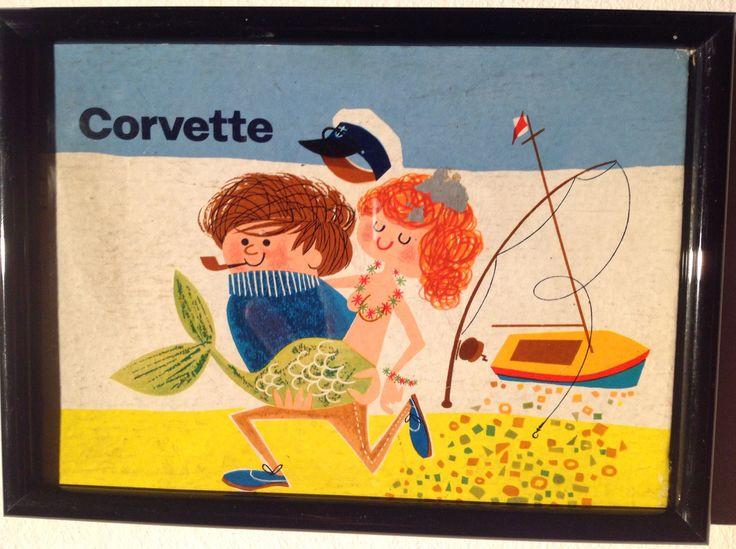 Daphne Padden - Mermaid / fisherman packaging for Corvette cosmetics, Bond Street early 60s.