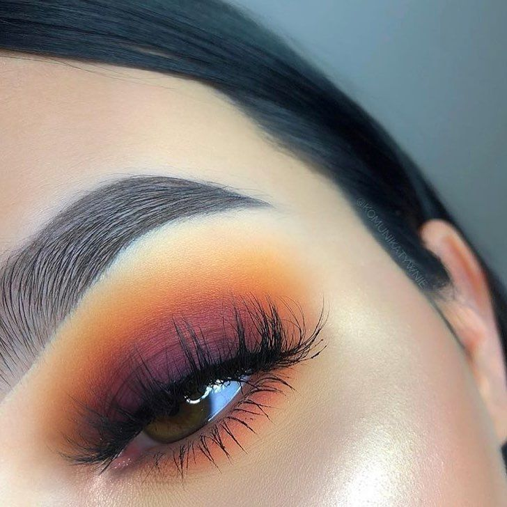 Sunset Makeup Eye Look Yellow Burgundy And Purple With Orange