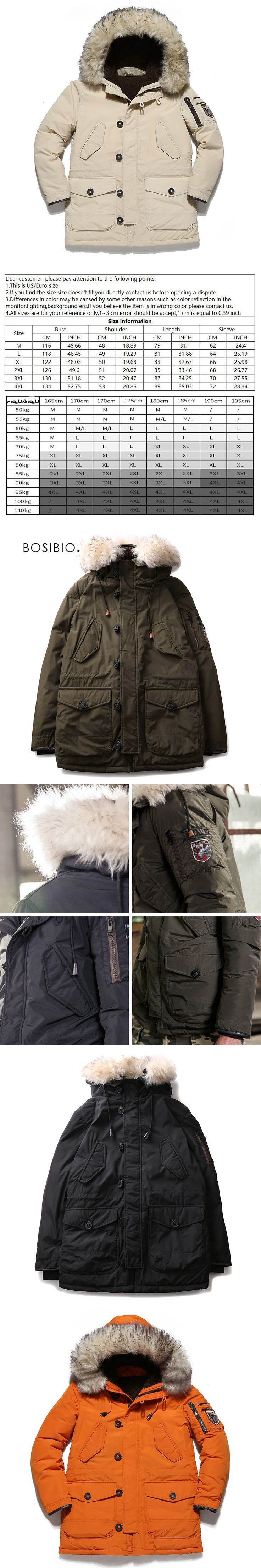 2017 winter white duck down jacket mens parka jackets fur hood Army green Casual Warm Thicken Men Coats Plus size 1778