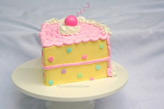 "Today I decided to make a ""piece-of-cake cake""! Who doesn't love a big old piece of cake?"