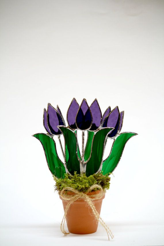Purple Stained Glass Suncatcher Purple Tulips by GalaGardens, $22.50