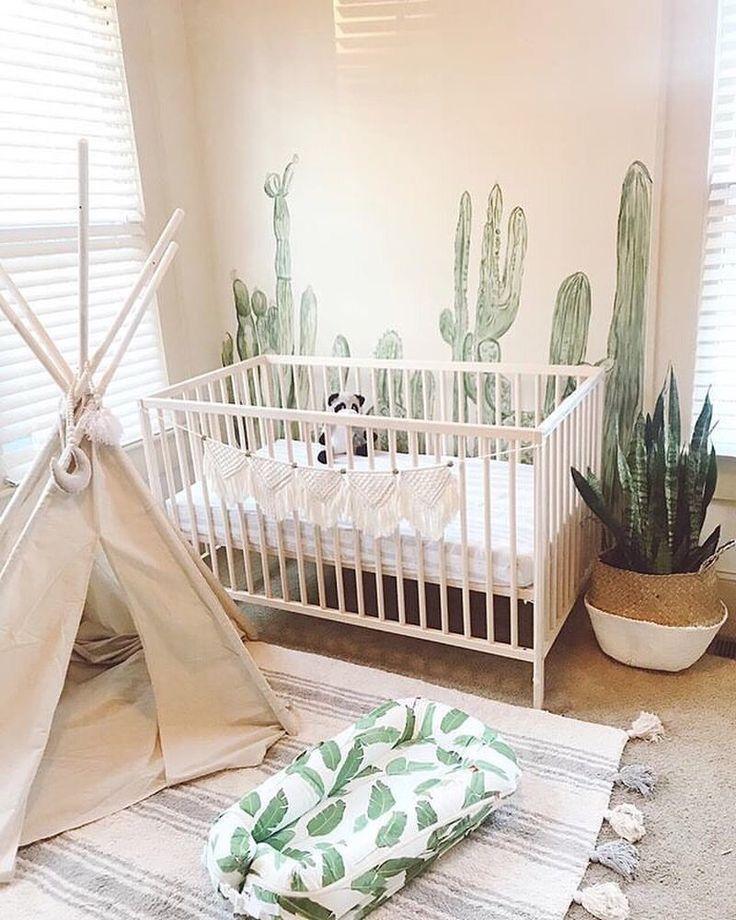 Cactus Themed Nursery In Green And Tan Nurserydecor Nurseryideas Nursery Babynursery Baby Bedroom Kid Room Decor Baby Boy Nurseries