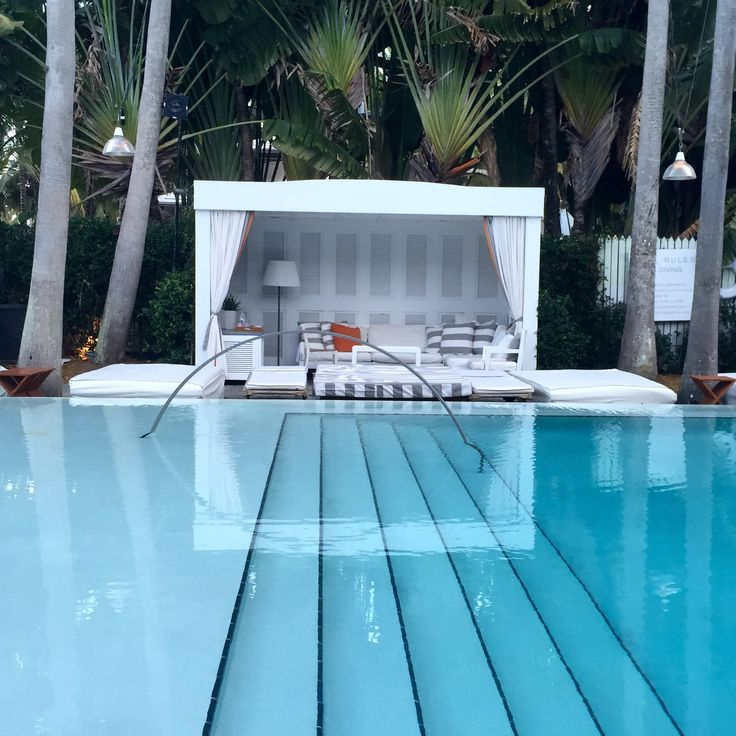 Cabana by the pool at the Delano in Miami
