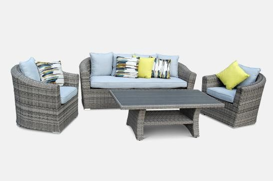 Noosa 3 Seater   2 x Armchairs and Coffee Table in Dune Rattan and Arctic Salt Cushions from The Furniture Shack