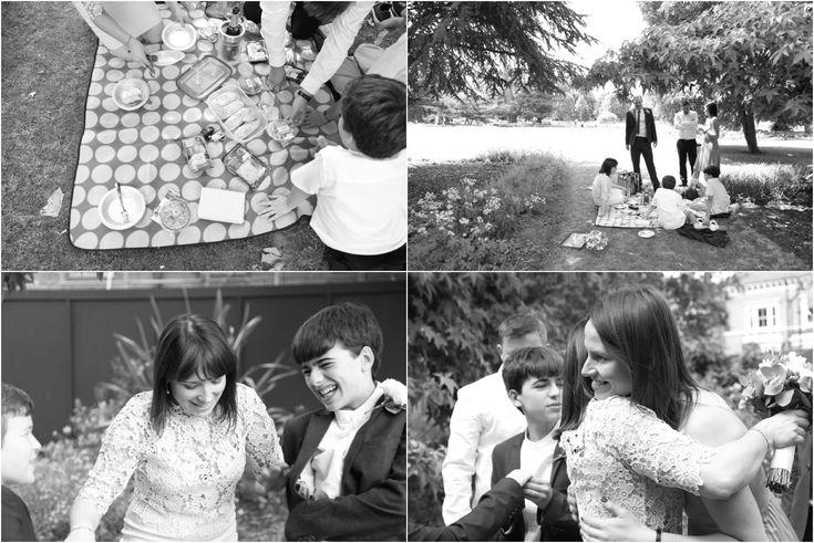 natural reportage fun ealing wedding photography, picnic in the park as reception, informal wedding, intimate wedding