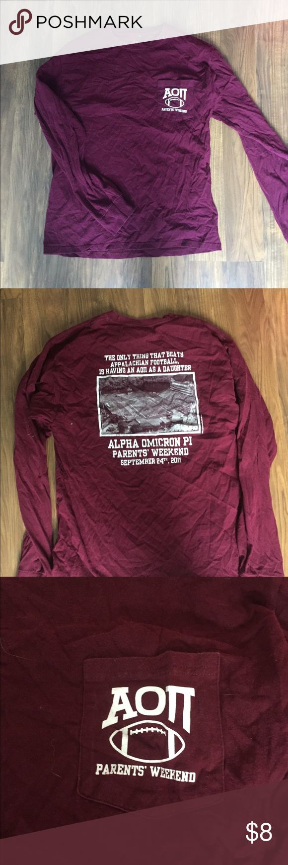 Alpha Omicron Pi Long Sleeve tshirt Cute letter shirt in good condition! Hanes Tops Tees - Long Sleeve