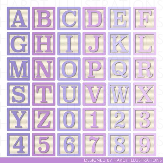 Pink And Purple Alphabet Blocks Clipart Alphabet Clip Art