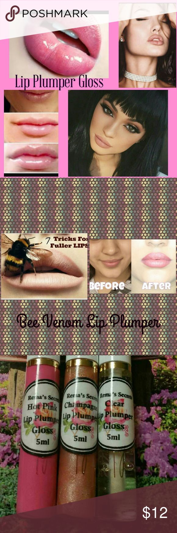 Bee Venom Lip Plumper Gloss Apply to lips to make them bigger Fuller fast contains bee venom cinnamon peppermint Shea butter glycerin the longer you use the more permanent results you will get this will sting when applied but will only last about a minute Choose a color hot pink clear or champagne they also have bronze available if you don't choose a color I will send hot pink Only comes with one lip gloss plumper Makeup Lip Balm & Gloss