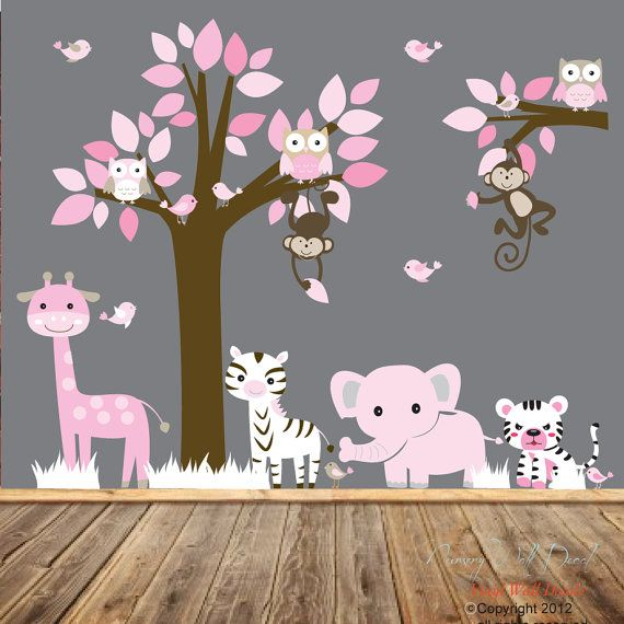 Nursery vinyl wall decal sticker pink jungle animal for Elephant mural nursery