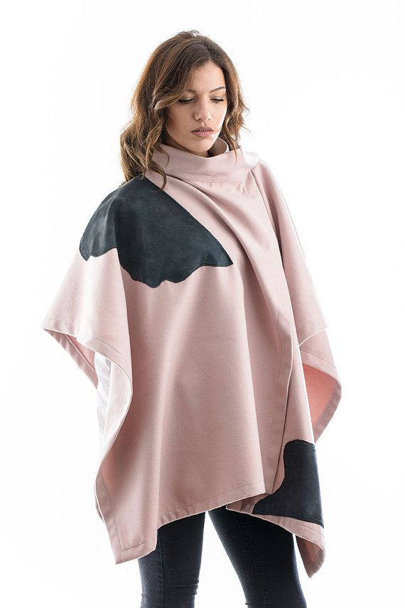 Pink cape with suede details by madecoutureeu on Etsy