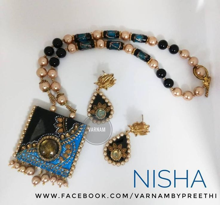 A modified version of Nisha with different kinda studs on a paper base supplied by @rinis.priya Code name: Nisha Handcrafted paper based pendant with cabochon workvin a vibrant combo of black, gold and blue and strung beautifully with these beads that I procured from Indonesia. #handcrafted #paperbase #handmadejewelry #cabochon #antiquefinish #nisha #varnambypreethi #chennai #jewelry #accessories #resincasted
