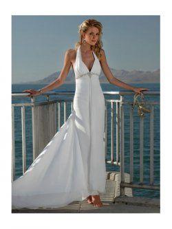 Vestidos de novia la vaina cabestro tren vestidos de novia para playa