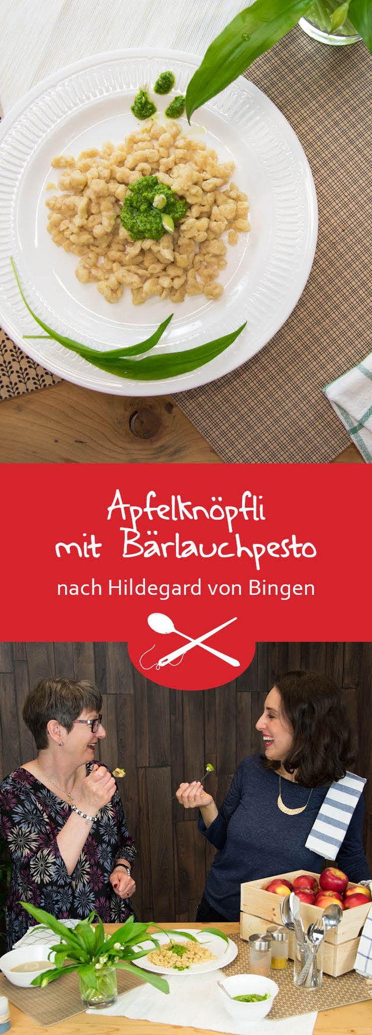 """In der Schweiz heissen die """"Spätzle"""" oft auch """"Knöpfli"""". Wie in den Schriften der Heiligen Hildegard von Bingen beschrieben hat es hier Dinkelmehl und als Gewürz Galgant drinnen. Im Frühling, wenn es überall nach Bärlauch riecht ist das ein klasse Rezept, ansonsten eignet sich auch eine Roquefortsauce dazu."""