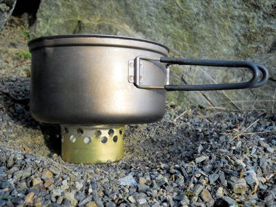cat food can stove ...for boiling water. easier than soda can stove...no simmer ring.