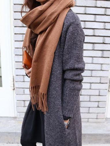 Brown scarf, grey coat sweater found on Death by Elocution