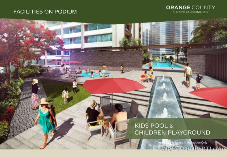 Orange County Apartment Cikarang kids pool and children playground.