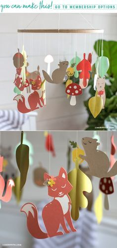 Create a simple papercut woodland baby mobile - Lia Griffith - www.liagriffith.com #paper #paperart #papercraft #diybaby #babymobile #diyinspiration #diyidea #diyideas #madewithlia