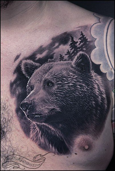 Realistic Chest Bear Tattoo by Oleg Turyanskiy