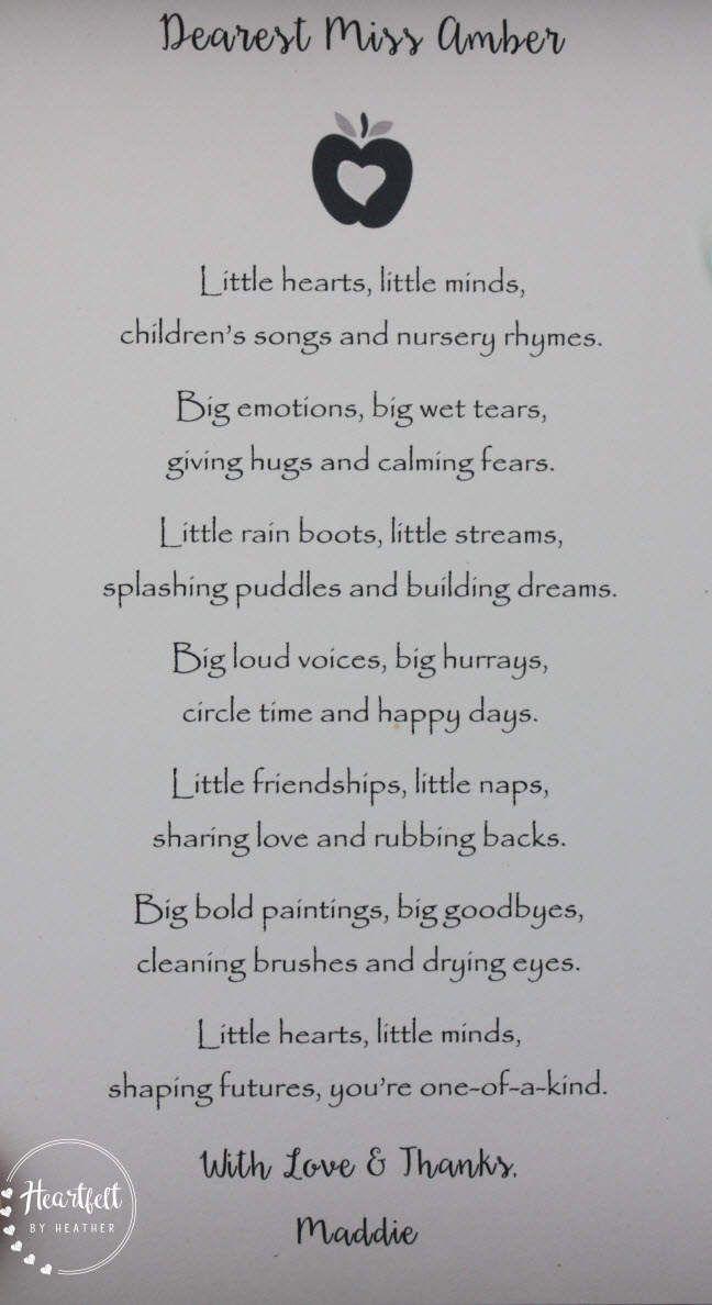 Preschool Teacher Thank You Gift Daycare Provider Poem Etsy Thank You Teacher Gifts Kindergarten Teacher Gifts Daycare Teacher Gifts