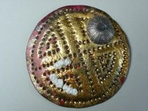Ancient Brooch by Helen Robertson copper, gold leaf, silver.