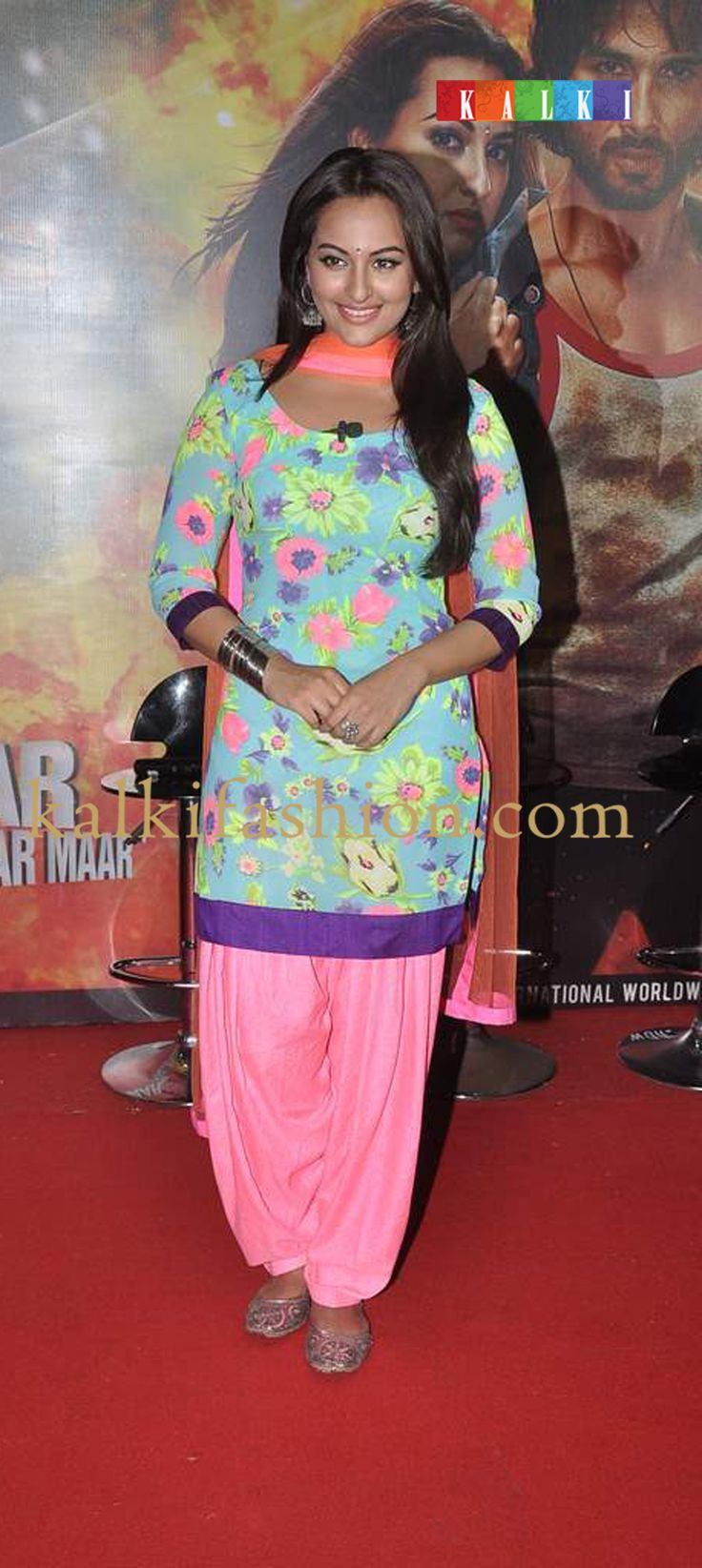 http://www.kalkifashion.com/   Sonakshi Sinha in bright and colorful salwar kammez at the promotion of her upcoming movie R.Rajkumar.