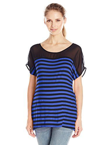 Three Seasons Maternity Womens Maternity Short Sleeve Stripe Chiffon Yoke Top RoyalBlackXLarge *** Continue to the product at the image link.