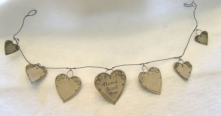 Wired Metal Heart Home Sweet Home Garland Rustic Primitive Decor #OhioWholesale