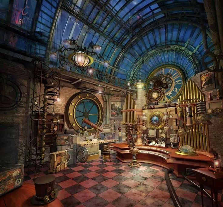 Rooms: Interesting Steam Punk Room Also Steampunk Laboratory