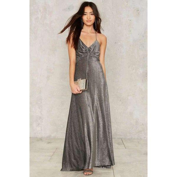 Vintage Hit the Floor Metallic Dress ($158) ❤ liked on Polyvore featuring dresses, grey, grey maxi dress, gray dress, back zipper dress, v neck maxi dress and halter neck maxi dress