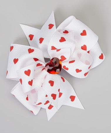 Take a look at this White & Red Heart Jewel Bow Clip by Picture Perfect Hair Bows on #zulily today!