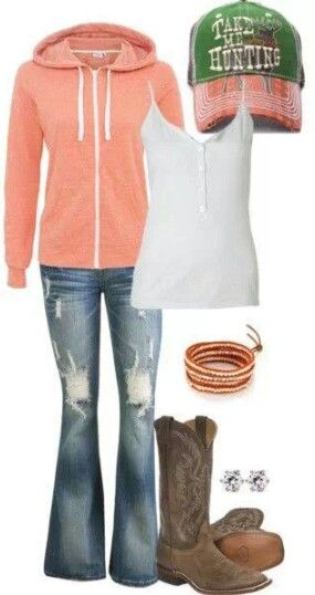 Country Girl Outfit - I would totally go hunting but would have to take a book!