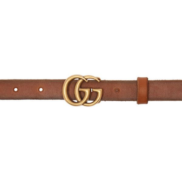 Gucci Brown Double G Belt (17.575 RUB) ❤ liked on Polyvore featuring accessories, belts, brown, leather belts, gucci, gucci belt, brown belt and adjustable leather belt