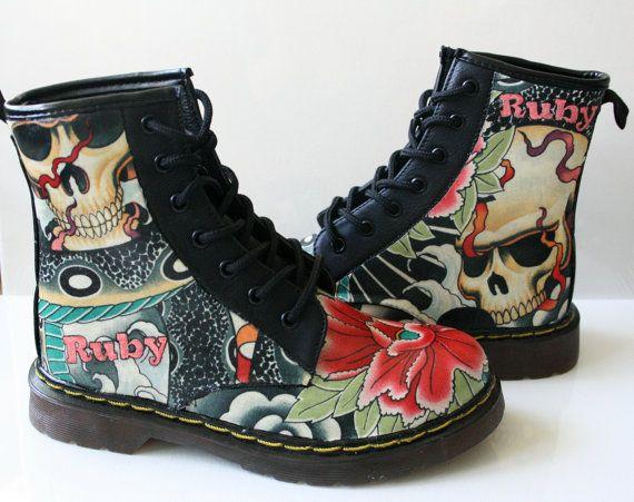 Skull shoesskull geisha snake boots. handmade and door RockYourSole