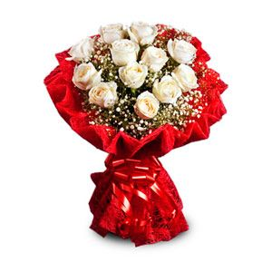Bunch of 12 white roses with seasonal fillers in a contrast red jute wrapping and a matching ribbon. http://www.tajonline.com/valentines-day-gifts/product/v2459/pure-heart/?aff=pint2014/