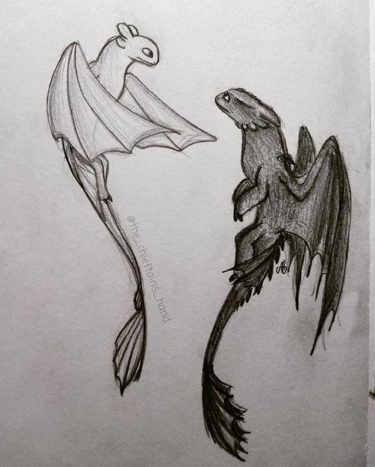 рисунки ночной фурии и дневной карандашом использовать контрастные