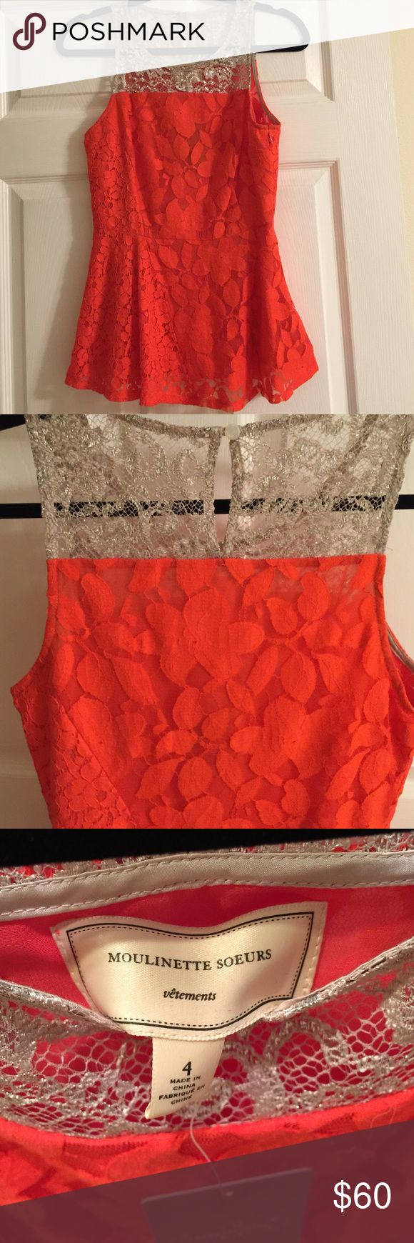 Anthropologie Moulinette Soeurs Red Peplum Top 4 Adorable red lace peplum top with gold lace neckline detail by Moulinette Soeurs purchased from Anthropologie. NWT size 4. Looks cute with just about anything! Anthropologie Tops Tank Tops