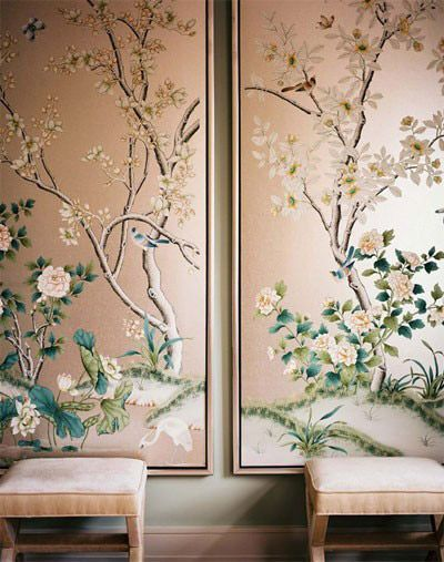 Hand painted scenic chinoiserie wallpaper panels