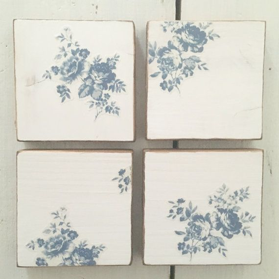 Blue and White Rose Coasters, Coasters. Wooden Coasters, Coaster Set, Wood Coasters, Kitchen Decor, Country Home Decor, Gift for Her, Roses