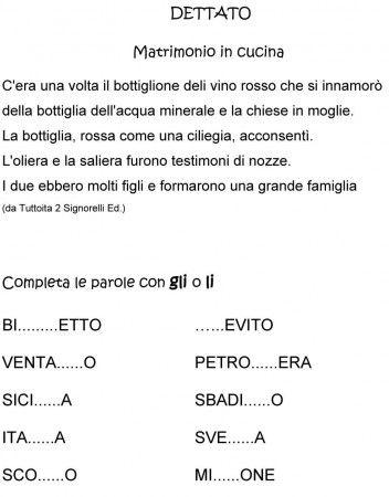 DETTATO VERIFICA GLI - LI CLASSE PRIMA