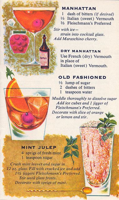 Vintage illustrated classic cocktail recipes. | Manhattan, Dry Manhattan, Old Fashioned, Mint Julep