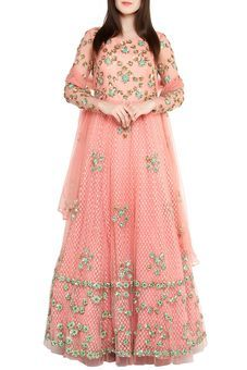 Peach Anarkali Net Lehenga by Red Couture, Lehengas #peach #pink #anarkali #floorlength #heavywork #net#embellished #embroidery #lehenga #designer #combination #colors #indianoutfits #pastel #wedding #fashiondiaries #pretty #beautiful#
