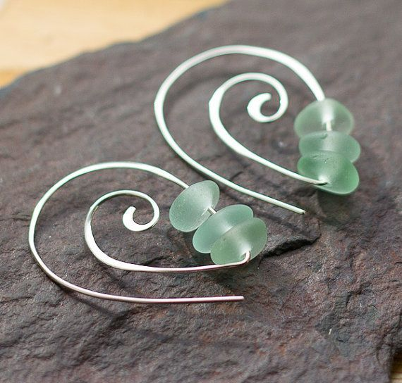 Sterling silver earrings Spirals Sea glass by BorealisSeaGlass, $28.00 #wirejewelry