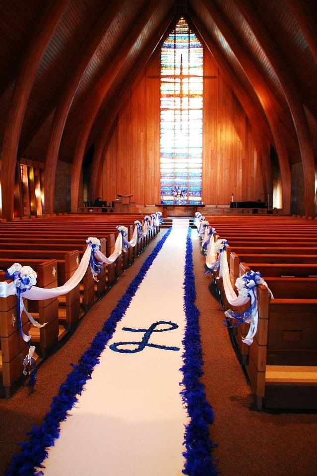 Aisle runner ideas, royal blue, feather boas, rose petal initial, Caldwell Chapel, JMD Photography. Lund Wedding